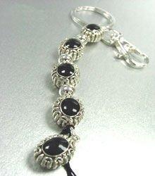 Black Epoxy Oval Key Chain Purse Charm  1KC132666