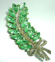 Large Green Lucite & Crystals Leaf Brooch / Pin 1BP1185256