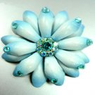 Blue Crystals & Leather Flower Brooch   1BP4000579
