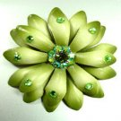 Green Crystals & Leather Flower Brooch