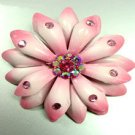 Pink Crystals & Leather Flower Brooch