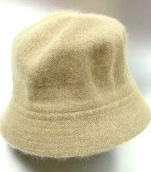 Tan Angora Rabbit Fur Bucket Hat  1HTB365