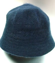 Navy Blue Angora Rabbit Fur Bucket Hat 1HTB365