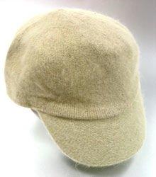 Tan Angora Rabbit Fur Messenger Cap Hat  1HTB196