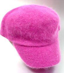 Hot Pink Angora Rabbit Fur Messenger Cap Hat 1HTB196