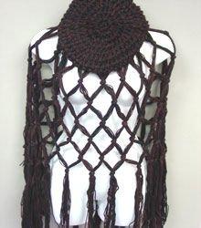 Brown Black Crochett Poncho & Tam Hat Set 1PONCHO21