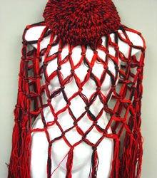 Red Black Crochett Poncho & Tam Hat Set