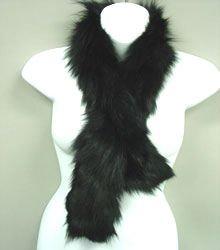 Black Genuine Fox Fur Scarf