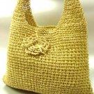 Natural Metallic Weave HoBo Satchel Bag   Handbag
