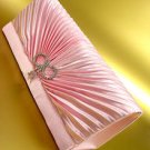 Pink Satin Rhinestone Crystals Bow Bag Handbag