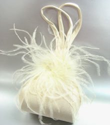 Creme Satin Fru Fru Feathers Bag Handbag