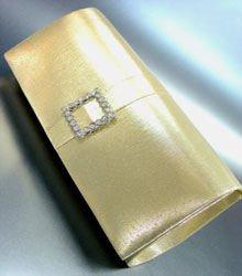 Gold Satin Square Crystals Fashion Bag  Handbag 131292