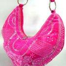 Pink Satin Sequins Beads HoBo Handbag  137003