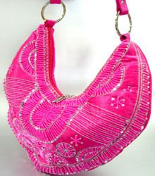 Pink Satin Sequins Beads HoBo Handbag  137003