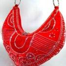 Red Satin Sequins Beads HoBo Bag  Handbag