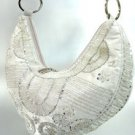 Silver Satin Sequins Beads HoBo Handbag   137003
