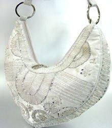 Silver Satin Sequins Beads HoBo Handbag   137003
