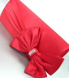 Red Satin Crystals Evening Bag Handbag   14000324