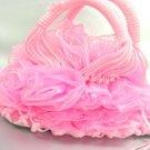 10x12 Pink Chiffon Rosettes Sash evening Bag handbag   1400084