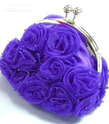Purple Satin Chiffon Rosettes Evening Bag  Handbag