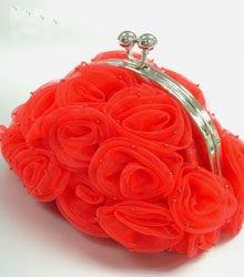 Red Satin Chiffon Rosettes Evening Bag  Handbag 1400436