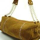 Brown Faux Suede Crystals Fashion Bag  Handbag