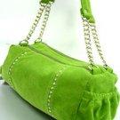 Green Faux Suede Crystals Bag Handbag 1400705
