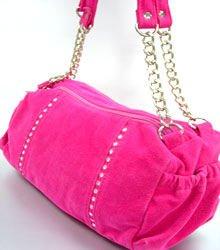 Pink Faux Suede Crystals Bag  Handbag  1400705