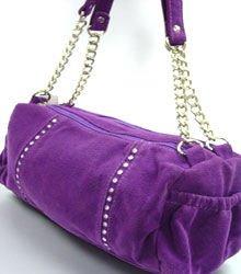 Purple Faux Suede Crystals Fashion Bag  Handbag 1400705
