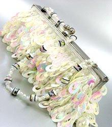 Winter White Sequins Cha Cha Bag Handbag