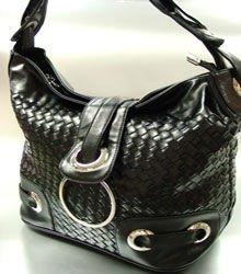 Black Weave Satchel Ring Duffle Shoulder Bag  Handbag 18933