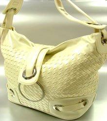 Creme Weave Satchel Ring Duffle Shoulder Bag Hsndbag