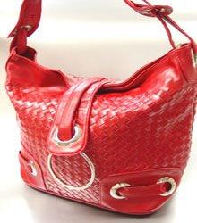 Red Weave Satchel Ring Duffle Shoulder Bag Handbag  18933