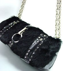 Crystal Accents Black Rabbit Fur Black  Faux Alligator Bag  19327