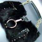 Crystal accents Black Rabbit Fur Black Petit HoBo Bag  Handbag  19334