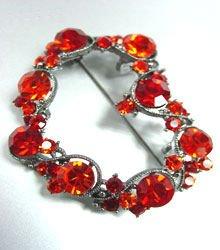 Red Swarovski Crystals Heart Brooch  1bp499105