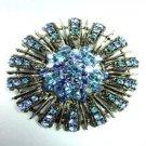Blue Swarovski Crystals Brooch Pin  1BP49971