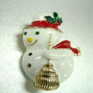White Enamel &  Crystals Snowman Brooch  1bp1925414