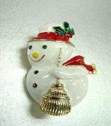 White Enamel &  Crystals Snowman Brooch  1bp1925414