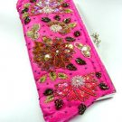 Pink Crystal Beads & Sequins Handbag  Clutch Boho Style 1BAG007