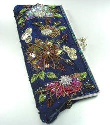 Blue Crystal Beads & Sequins Handbag Clutch BoHo 1BAG007