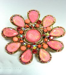 Coral Lucite Crystals Brooch Pin 1BP235009S