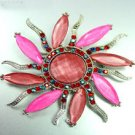 Hot Pink Crystals StarBurst Brooch 1BP4001591