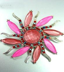 Hot Pink Crystals StarBurst Brooch 1BP4001591