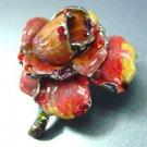 Red Enamel Crystals Rose Brooch Pin 1BP080751