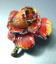 Red Enamel Crystals Rose Brooch Pin 1BP080751