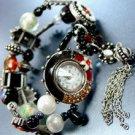 Black Beads Crystal Tassel Bracelet Watch 1WB235006