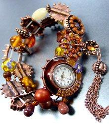 Brown Beads Crystal Tassel Bracelet Watch 1WB235006