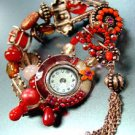 Red Beads Crystals Tassel Bracelet Watch 1WB235006