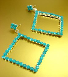 Dozen Lucite Turquoise Crystals Earrings DE1157336